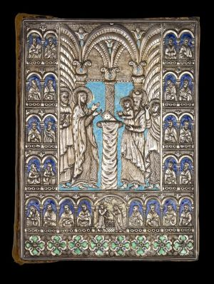 Silver-repoussé and enamel cover with the Presentation of Jesus in the Temple, a small Annunciation at the bottom, and busts of the 24 prophets in niches, produced in the Kayseri silversmith workshop, ca. 1700. On: Gospel Book, in Armenian, Tokat, Turkey, 23 March 1700, written by Georg (Mik'ayel's son) for Hrip 'sime, who commissioned it in memory of her parents. Manuscript on paper. Purchased on the L. W. Frohlich Charitable Trust, in memory of L. W. Frohlich and Thomas R. Burns, in recognition of their interest and contributions to the art of the written word, 1998.
