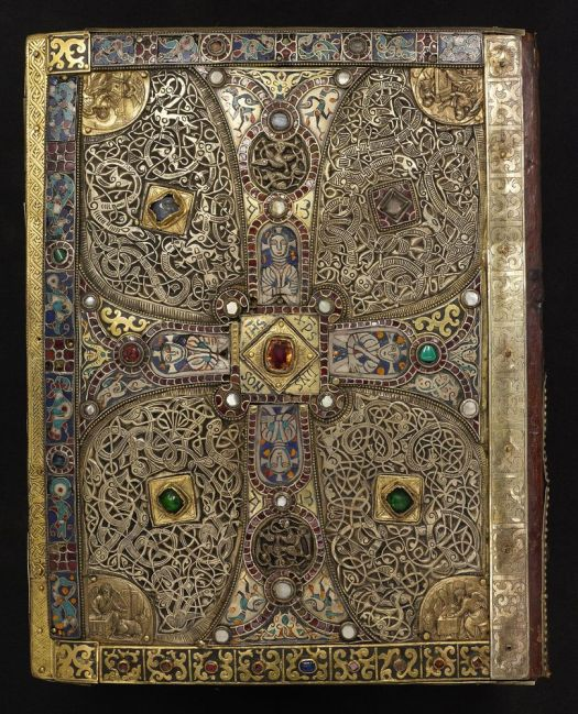 Jeweled Cover of the Lindau Gospels, possibly Salzburg, last quarter eighth century. On: The Lindau Gospels, in Latin Switzerland, Abbey of St. Gall, between 880 and 899. Manuscript on vellum. Purchased by J. Pierpont Morgan, 1901.