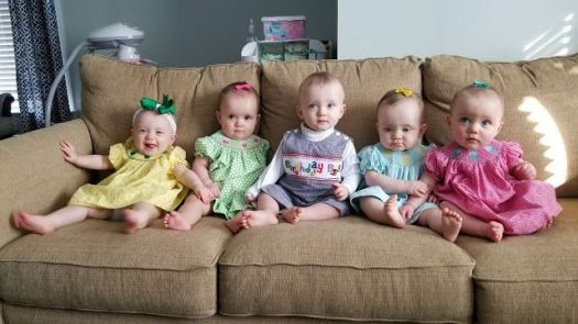 The Baudinet quintuplets celebrated their first birthday on Dec. 4. Contributed