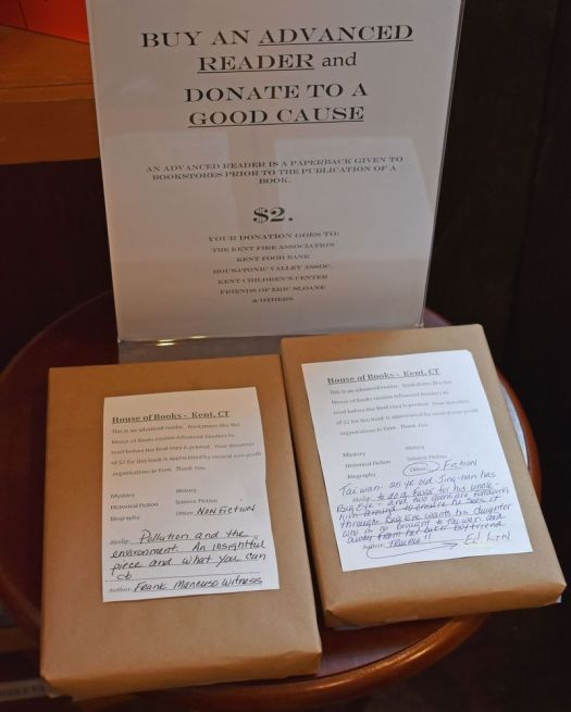 The House of Books in Kent has 'advanced reader copies' of books wrapped in brown paper with a label to add to the mystery of what readers will get for their $2 donation. Lynn Mellis Worthington Republican-American
