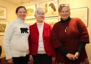 Janet Reagon, center, president of the Rex Brasher Association, with Carrie Szwed, left, education director at the White Memorial Conservation Center, and Gerri Griswold, White Memorial's director of administration and development. John McKenna Republican-American