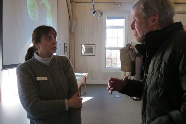 Ruth Epstein Republican-American Felicia Ortner, a master wildlife conservationist, talks with Hunt Williams following her presentation on 'The Bear Reality' at Cornwall Library on Sunday.