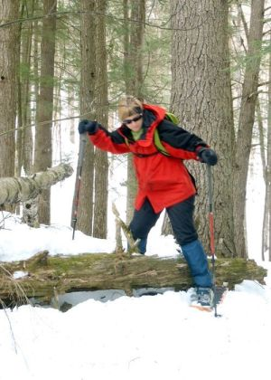 In our Advanced Snowshoe class we teach Doe Campers how to negotiate off trail on snowshoes (EasternSlopes.com photo)
