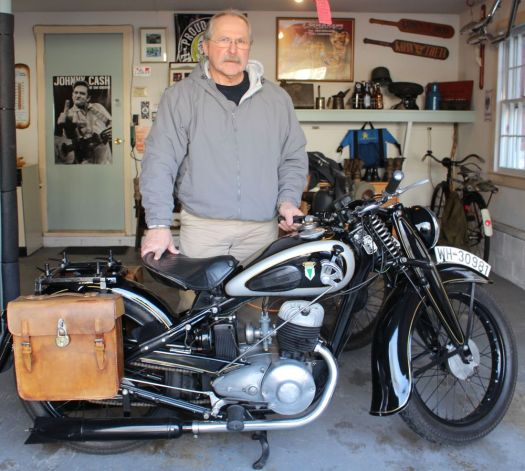 Bud Wilkinson Republican-American  Carl Moeller and his 1939 DKW NZ 250 motorcycle from Germany.