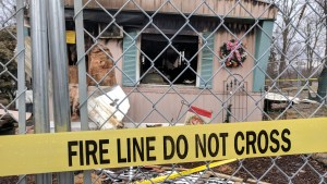 A man died when this mobile home in Idleview Park in Naugatuck was consumed by fire Friday.