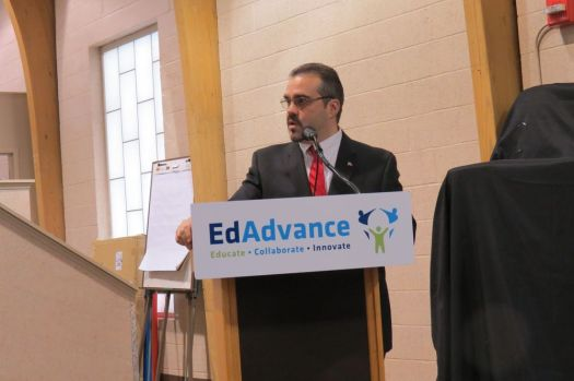 Harwinton First Selectman Michael R. Criss speaks about the Northwest Hills Council of Governments' priorities during a legislative breakfast at EdAdvance in Litchfield on Thursday. Ruth Epstein Republican-American