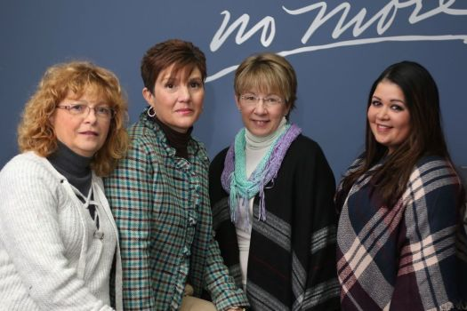 Members of the Survivors Speak group, from left, Mary Taylor of Derby, Sue Blasasavage of Oxford, Debbie Mitchell of Woodbury and Patti Ieraci of Meriden, at Jane Doe No More in Naugatuck in December. Steven Valenti Republican-American
