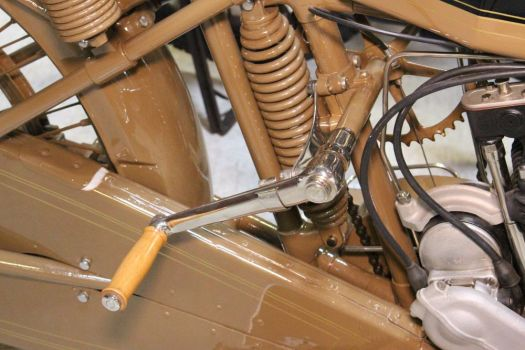 The newly acquired 1921 Motosacoche motorcycle that was made in Switzerland has a hand crank to start it instead of a kick starter.