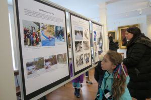 Guests view the exhibit about the Salisbury Winter Sports Association and the start of ski jumping in town arranged by the Community Events Committee of the Salisbury Association at the Academy Building. Ruth Epstein Republican-American
