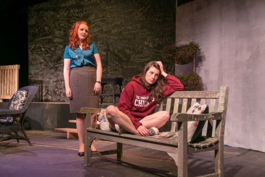 Carey Van Hollen and Anna Fagan rehearse a scene from 'Proof,' playing at TheatreWorks New Milford from Friday through March 10. Contributed
