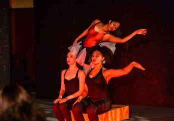 From left, Lydia Davidowitz, Naomi Filipiak, and Maya Kumar perform a modern dance routine Sunday in Westover School's Dance Program concert at the school's Middlebury campus.Bill Shettle Republican-American