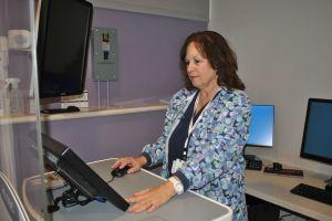 Ann Razza, Saint Mary's Hospital radiology tech with mammography machine