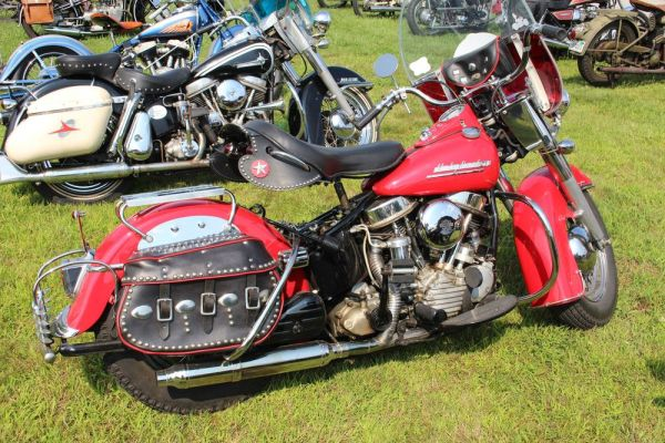 Vintage Harley-Davidson and Indian motorcycles parked at the National Meet staged in Hebron by the Yankee Chapter of the Antique Motorcycle Club of America last year. The show moves to the Terryville Fairgrounds in Terryville this year.  Bud Wilkinson Republican-American
