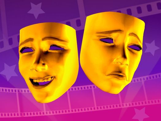 3 col x 4.8 in / 164x123 mm / 558x419 pixels Image of happy, sad masks superimposed over film strip. KRT 2000