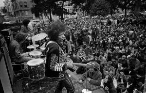 Jimi Hendrix is the focus of a special section of 'Rock and Revolution: Photographs by Jim Marshall' at Mattatuck Museum in Waterbury through April 22. Contributed