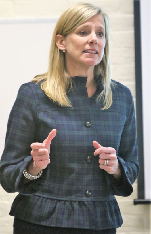 Maria Coutant-Skinner, executive director of the McCall Foundation for Behavioral Health in Torrington and a member of the Litchfield County Opiate Task Force, speaks during a forum on the opioid epidemic organized by Goshen Public Library on Tuesday. John McKenna Republican-American