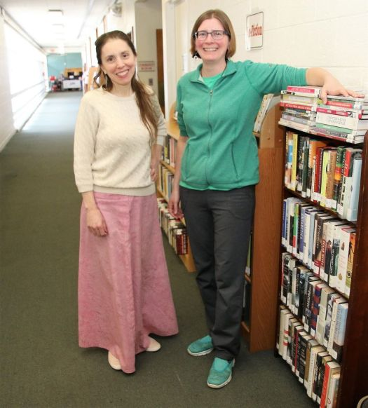 cutline attribution name:John McKenna Republican-American Ann Marie White, left, director of the Oliver Wolcott Library in Litchfield, and Lisa Shaia, children's librarian, in the library's temporary home in Bantam Friday.