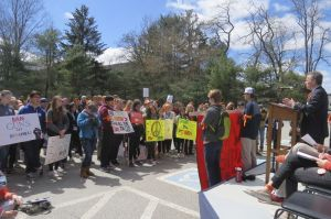Jeremy Stein of Connecticut Against Gun Violence urges those at Friday's March for Action against gun violence to chant 'Not One More.' Ruth Epstein Republican-American