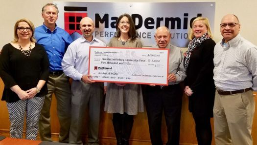 A regular Greater Waterbury Campership Fund supporter, the MacDermid Charitable Committee is adding $5,000 to the nonprofit's campaign this spring. Celebrating the company's dedication to sending local children to camp with a check presentation Thursday were, from left, Ruth Grey, customer and corporate services coordinator; Don Cullen, director of marketing communications; Mike Goralski, vice president Americas; Anne Karolyi, president of Greater Waterbury Campership Fund; Michael Mucciacciaro, treasurer of Greater Waterbury Campership Fund; Sue Mellitt, executive assistant; and Steve Castaldi, director of product stewardship global. Allison Dederer Romano/Republican-American