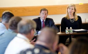 U.S. Sen. Richard Blumenthal and Maria Coutant Skinner, executive director of the McCall Foundation for Behavioral Health, listen as residents who are in treatment discuss their experiences with sober homes Wednesday at Charlotte Hungerford Hospital in Torrington. Jim Shannon Republican-American