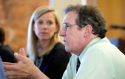 Tom Narducci, administrative director of outpatient behavioral health at Charlotte Hungerford Hospital, talks about sober homes as Maria Coutant Skinner, executive director of the McCall Foundation for Behavioral Health, looks on during a round-table discussion to urge strong federal oversight of sober homes Wednesday in Torrington. Both are members of the Litchfield County Opiate Task Force. Jim Shannon Republican-American
