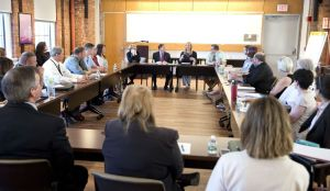 Torrington leaders and advocates meet with U.S. Sen. Richard Blumenthal on Wednesday at Charlotte Hungerford Hospital in Torrington for a round-table discussion to urge strong federal oversight of sober homes. Jim Shannon Republican-American