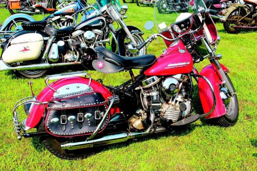 Vintage Harley-Davidson and Indian motorcycles park at the national meet for the Yankee Chapter of the Antique Motorcycle Club of America last year in Hebron. The show moves to the Terryville Fairgrounds in Terryville this year. BUD WILKINSON REPUBLICAN-AMERICAN