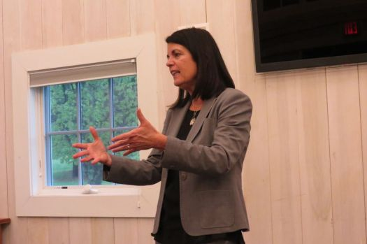 Mary Glassman, Democratic candidate for the 5th Congressional District, addresses the Northwest Connecticut Democratic Coalition Tuesday in Cornwall. It was her first presentation after being nominated Monday. Ruth Epstein Republican-American