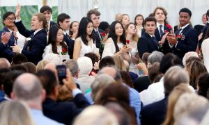 WASHINGTON CT. 28 May 2018-052818SV07- Graduates stand to acknowledge family members in attendance during the graduation ceremony at The Gunnery School in Washington Monday. Steven Valenti Republican-American