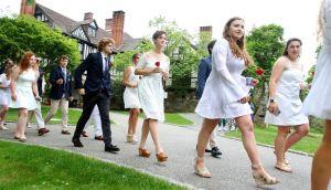 WASHINGTON CT. 28 May 2018-052818SV05- Graduates make their way into the graduation ceremony at The Gunnery School in Washington Monday. Steven Valenti Republican-American