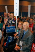 2018 (foreground to back) Kent Delegates Rick and Leslie Levy and Litchfield delegates Barbara Ellis, Jennine Lupo, Chair and Joe Manes, vice chair gathered at the Connecticut Democratic Convention in Hartford Saturday afternoon. Michael Kabelka / Republican-American.