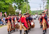 WOLCOTT, CT. 28 May 2018-052818BS352 - The Mattatuck Drum Band, the oldest Fife and Drum Band in the US marches in the 2018 Wolcott Memorial Day Parade on Monday evening. Bill Shettle Republican-American