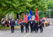 WOLCOTT, CT. 28 May 2018-052818BS352 - The Wolcott Volunteer Fire Department's honor guard lead Wolcott firefighters down the street in the 2018 Wolcott Memorial Day Parade on Monday evening. Bill Shettle Republican-American