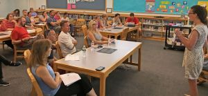 Kent Center School Principal Michelle Mott answers questions from parents and school board members Tuesday about the school's new grading practices for 2018-19. Lynn Mellis Worthington Republican-American