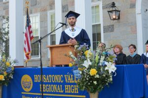 Massyl Mallem speaks of being a 12-year-old boy in Tunisia during the revolution in a powerful speech during graduation Thursday at Housatonic Valley Regional High School in Falls Village. Ruth Epstein Republican-American