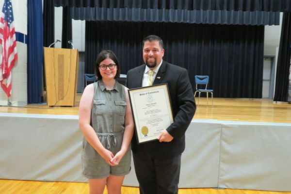 Reilly Hedden, a recent graduate of Cornwall Consolidated School, won the 64th House District Essay Contest sponsored by state Rep. Brian M. Ohler, R-Canaan. Ruth Epstein/Republican-American
