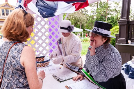 TORRINGTON, CT. 28 July 2018-072818BS12 - Diane Callahan of Wethersfield, a re-enactor of the Women Sufferage of 1918 yells out people to get involved during the WW I Living History Day at the Torrington Historical Society in Torrington, CT on Saturday afternoon. Bill Shettle Republican-American