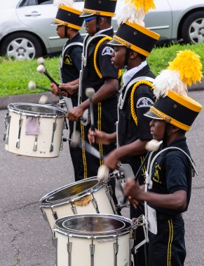 WATERBURY, CT. 20 August 2018-082018 - Some of the Berkeley Knights drumline practice their World Championship award winning routine in the parking lot of the Berkeley City Recreation Center in Waterbury on Monday evening. Bill Shettle Republican-American
