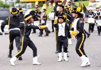 WATERBURY, CT. 20 August 2018-082018 - Zanivia Boone, center leads the Berkeley Knights Drill Team in precise unison during their World Championship award winning routine in the parking lot of the Berkeley City Recreation Center in Waterbury on Monday evening. The Berkeley Knights were recently awarded the Albert Pete Edwards award for Best Overall Drill Team at the Drill Competition World Championships in Jacksonville, FL. Bill Shettle Republican-American