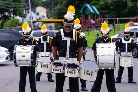 WATERBURY, CT. 20 August 2018-082018 - Berkeley Knight Drummer Darren Richards gives a verbal command to fellow drill team drummers before starting their practice of their World Championship award winning routine in the parking lot of the Berkeley City Recreation Center in Waterbury on Monday evening. Bill Shettle Republican-American