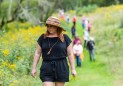 WOODBURY, CT. 23 September 2018-092318 - Kiri Clark, in the hat, leads a group of people in a therapeutic journey through the woods using a technique inspired by the Japanese practice of shinrin-yoku, forest bathing, or taking in the forest atmosphere at the Flanders Nature Center Van Vleck Sanctuary in Woodbury on Sunday. Bill Shettle Republican-American