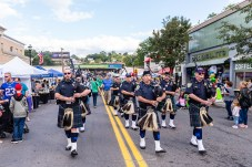 NAUGATUCK, CT. 29 September 2018-092918 - Members of the Waterbury Pipes and Drums march up Maple street during third annual Ion Bank/Mission 22 Fall Festival in downtown Naugatuck on Saturday. Bill Shettle Republican-American