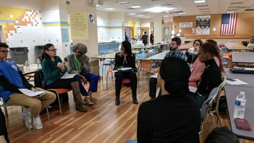 cutline attribution name:Michael Gagne Republican-AmericanMargaret O'Brien, second from left, a longtime advocate for special education students, speaks during a small group session on the role schools play in fostering student growth Tuesday night at Waterbury Arts Magnet School. The session was part of a larger conversation about defining a Waterbury Public Schools graduate and the topic of race.