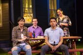 From left, Cindy Cheung, Brian Sgambati, Paul Pontrelli and Elizabeth Ramos in a scene from 'Tiny Beautiful Things,' now playing at Long Wharf Theatre in New Haven. (T. Charles Erickson photo)