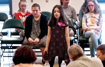 """TORRINGTON, CT-030219JS08-- Alliyson Desanit sings """"Fight Song"""" by Rachel Platten, during auditions for the Torrington Parks and Rec's annual Kids Rock Contest Saturday at Coe Park in Torrington. Selected kids, ages 8-14 will perform during the show on April 6, 2019. Jim Shannon Republican American"""