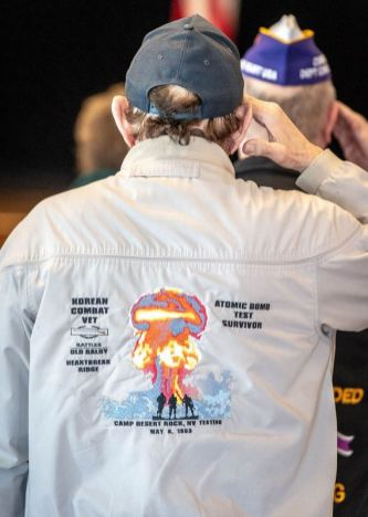 A jacket worn by one of the veterans during the Torrington Veterans Support Committee's Gulf War Veterans Day Observance Thursday at Coe Park in Torrington. Jim Shannon Republican-American