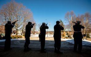 Members of the Honor Guard fire a volley of shots during the Torrington Veterans Support Committee's Gulf War Veterans Day Observance Thursday at Coe Park in Torrington. Officials, guests, veterans and current military personnel were on hand to honor veterans of the Gulf War and the War on Terror. Jim Shannon Republican-American