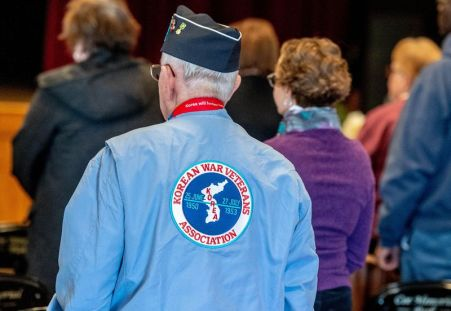 A jacket worn by a Korean War veteran during the Torrington Veterans Support Committee's Gulf War Veterans Day Observance Thursday at Coe Park in Torrington. Jim Shannon Republican-American