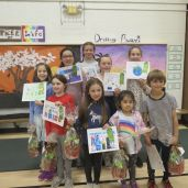Winners of the recycling poster contest at Kent Center School are, front row, from left, Elizabeth Austin, Aria Fodor, Abigail Choi and Willy Brown; second row, Brinley Smith, Lanna Kennedy, Kaelyn Darrin and Gussie Smith; back, Zoey Greenbaum. Ruth Epstein Republican-American