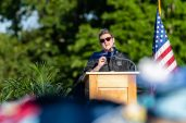 Oxford High School Principal Dorothy Potter speaks at commencement ceremonies at Oxford High School on June 11, 2019. Bill Shettle/Republican-American
